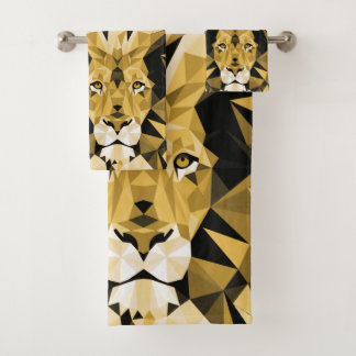 Brown Geometric  Lion Bath Towel Set