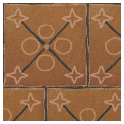 Brown Geometric Patterns Cotton Fabric