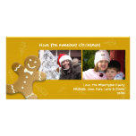 Brown gingerbread man sweet candy canes Christmas Photo Greeting Card