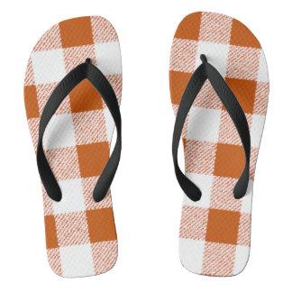 Brown gingham check flip flops