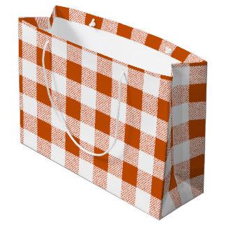 Brown gingham check large gift bag