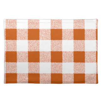 Brown gingham check placemat