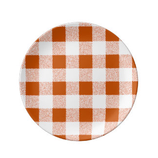 Brown gingham check plate