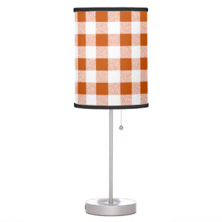 Brown gingham check table lamp