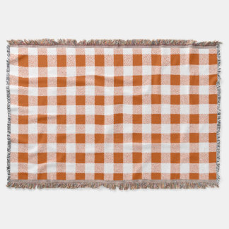 Brown gingham check throw blanket