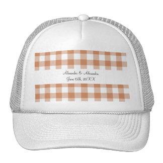 Brown gingham pattern wedding favors trucker hat