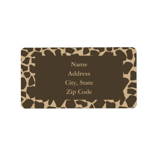 Brown Giraffe Pattern Print Label