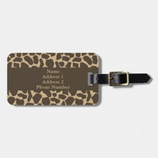 Brown Giraffe Pattern Print Luggage Tag