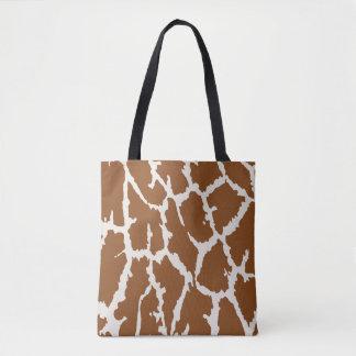 Brown Giraffe Print Tote Bag