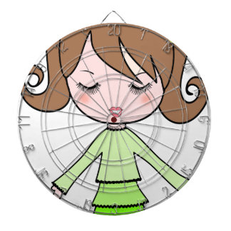 Brown girl green dress cartoon art dartboard