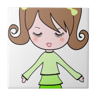 Brown girl green dress cartoon art tile