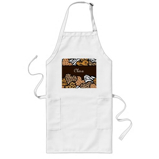 Brown Girly animal print hearts with a name Aprons