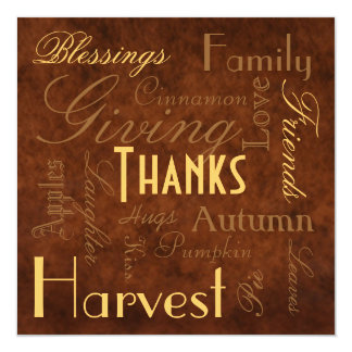 "Brown ""Giving Thanks"" Thanksgiving  Invitation"