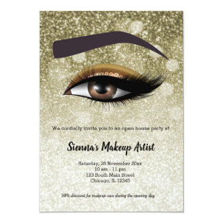 Brown glam lashes eyes | makeup artist card