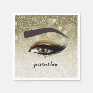 Brown glam lashes eyes | makeup artist napkin