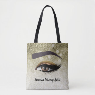 Brown glam lashes eyes   makeup artist tote bag