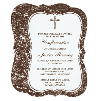 "Brown Glitter Cross Holy Communion Confirmation 5"" X 7"" Invitation Card"