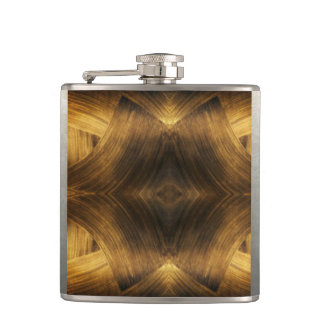Brown Gold Abstract Pattern Print Design Hip Flask