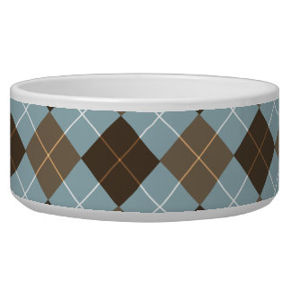 Brown, Gold, and Sky Blue Argyle Monogram Pet Water Bowls