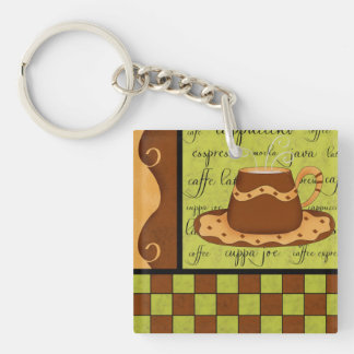 Brown Gold Green Checkerboard Coffee Cup Art Name Double-Sided Square Acrylic Keychain