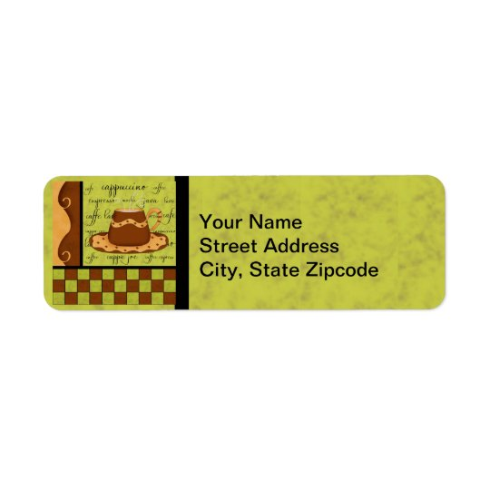 Brown Gold Green Chequerboard Coffee Cup Art Return Address Label