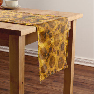 Brown Gold Grunge Steampunk Pattern Table Runner