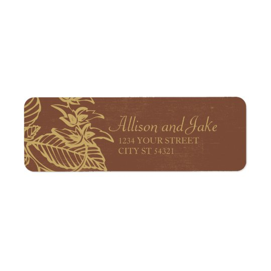 Brown & Gold Leaves, Fall Wedding Address Labels