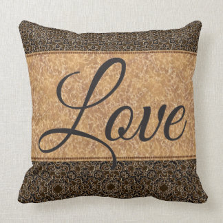 "Brown/Gold Luxury Pillow with ""Love"" Saying."