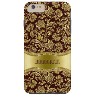 Brown & Gold Metallic Floral Damasks-Customized Tough iPhone 6 Plus Case