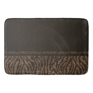 Brown Gold Zebra Wild Animal Print Exotic Glam Bath Mat