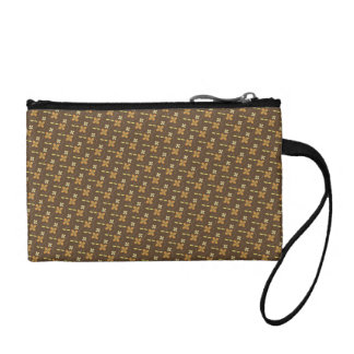 Brown golden flowers pattern coin purse