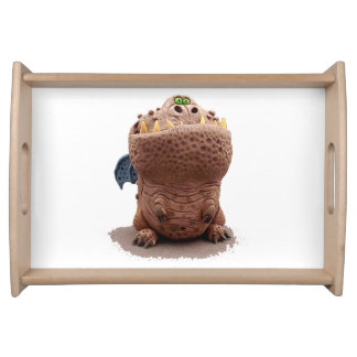 Brown Goofy looking dragon with green eyes Serving Tray