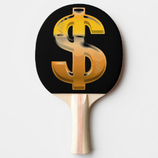 Brown Gradient Dollar Sign Ping Pong Paddle