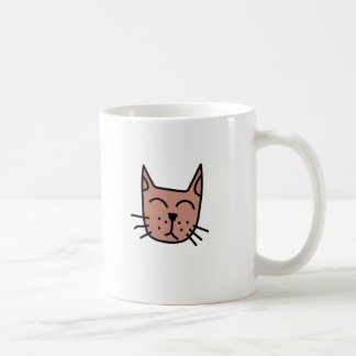 Brown graffiti cat face coffee mug