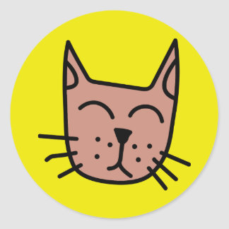 Brown graffiti cat face round sticker