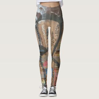 Brown Graffiti Leggings