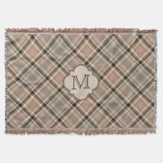 Brown Gray Tartan Plaid Pattern Monogram Throw Blanket