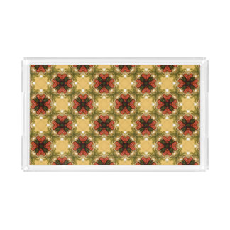 Brown, Green And Cream Abstract Pattern Acrylic Tray