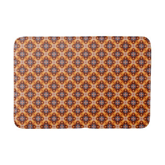 Brown, Green And Cream Retro Abstract  Pattern Bath Mat