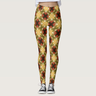 Brown, Green And Cream Retro Abstract  Pattern Leggings