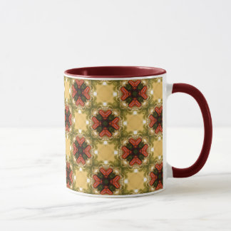 Brown, Green And Cream Retro Abstract  Pattern Mug