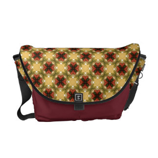 Brown, Green And Cream Vintage Pattern Messenger Bags