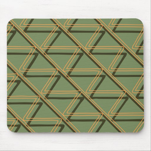 Brown & Green Aztec Pattern Mouse Pad