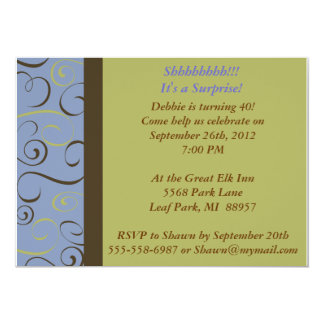 Brown, Green, Blue Wedding or Party  Invitation