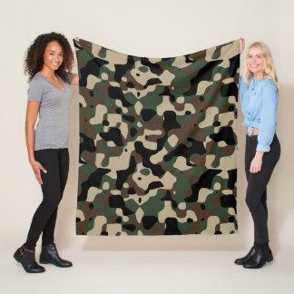Brown Green Dark Camouflage Fleece Blanket
