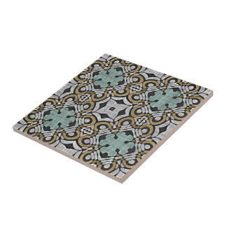Brown Green Gray Retro Chic Nouveau Deco Pattern Tile