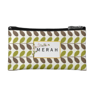 Brown & Green Leafy Personalized Cosmetic Bag