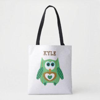 Brown Green Owl Customized Name Tote Bag
