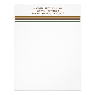 brown green stripes personalized letterhead