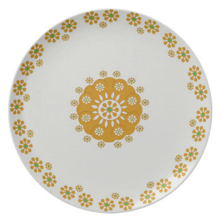 Brown Green Tiny Flower Plate